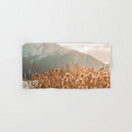 Golden Wheat Mountain // Yellow Heads of Grain Blurry Scenic Peak Hand & Bath Towel