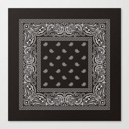 Paisley - Bandana - Black -  Southwestern Canvas Print