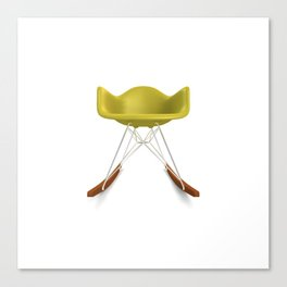 Eames® Molded Plastic Rocker with Wood Base - Yellow Canvas Print