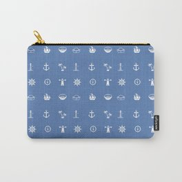 Nautical Symbols Blue Background Carry-All Pouch