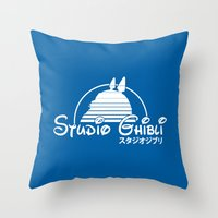 ghibli Throw Pillows featuring studio ghibli. by dann matthews