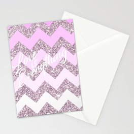 Love is Everything, Pink Chevron Stationery Cards