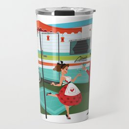 Happy Campers Vintage Travel Trailers, Caravans, Campers and Glamping Art Travel Mug