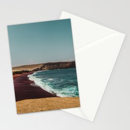 Red Beach 'Playa Roja' in the Paracas desert meets the Pacific Ocean in Peru Stationery Cards