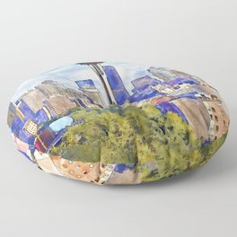Seattle View in watercolor Floor Pillow