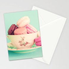 Vintage cup with macaroons Stationery Cards