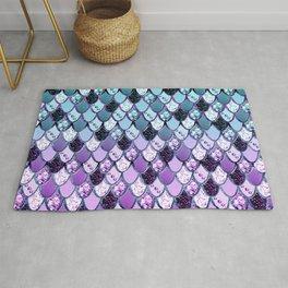 Purple Teal Mermaid Princess Glitter Scales #1 #shiny #decor #art #society6 Rug