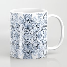 Indigo, Navy Blue and White Calligraphy Doodle Pattern Coffee Mug