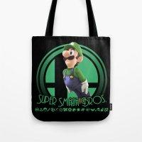 super smash bros Tote Bags featuring Luigi - Super Smash Bros. by Donkey Inferno
