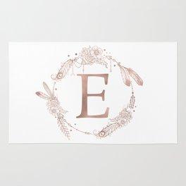 Letter E Rose Gold Pink Initial Monogram Rug