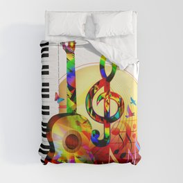 Colorful  music instruments painting, guitar, treble clef, piano, musical notes, flying birds Duvet Cover