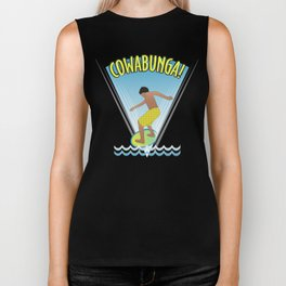 Cowabunga Flow-boarding Pop Art Biker Tank