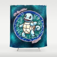 squirtle Shower Curtains featuring 7 - Squirtle by Lyxy