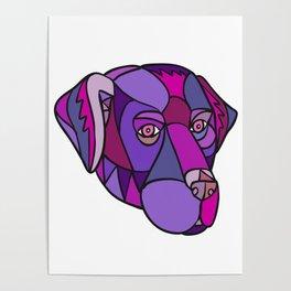 Labrador Retriever Dog Head Mosaic Color Poster