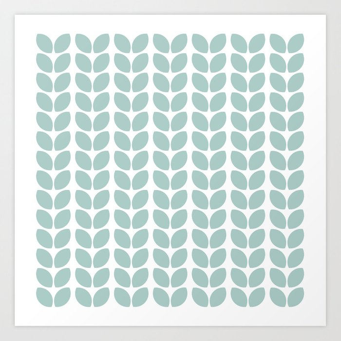 leaves - robins egg blue Art Print