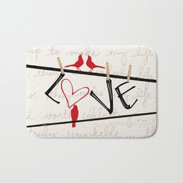 Love Letters Red Bird Clothesline A713 Bath Mat