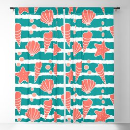 cute striped pattern with seashells and starfishes in living coral color Blackout Curtain