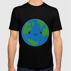 Planet Earth MEDIUM Black Mens Fitted Tee