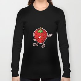 Cute Funny Dancing Strawberry Fruit Lover Tshirt Long Sleeve T-shirt
