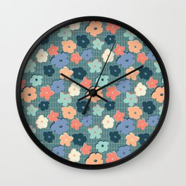 Peach and Aqua Flower Grid Wall Clock