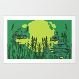 Grassy Sunset. Art Print