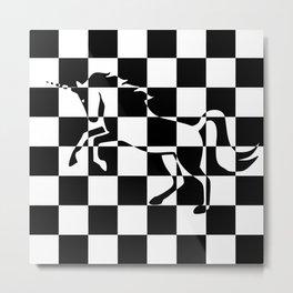 Chessboard Unicorn Metal Print
