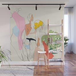 women summer sun bath line art Wall Mural