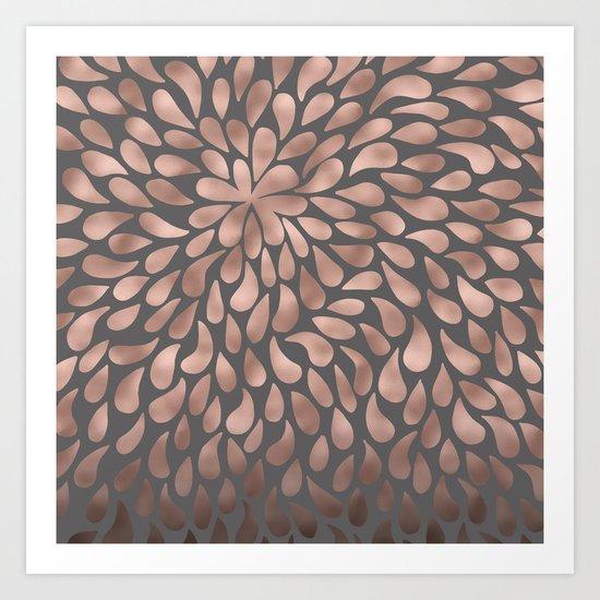 Rosegold- abstract floral elegant pattern on grey background Art Print