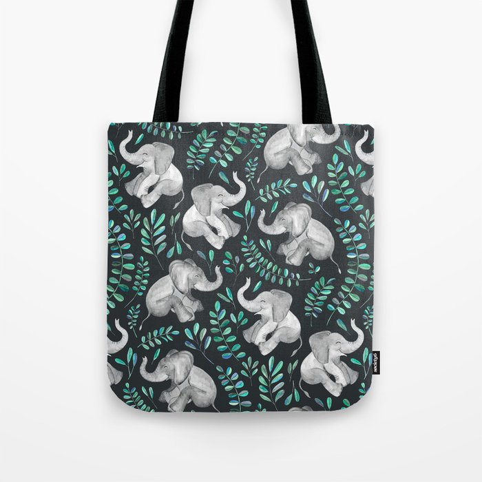 Laughing Baby Elephants – emerald and turquoise Tote Bag