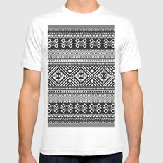 Monochrome Aztec inspired geometric pattern MEDIUM White Mens Fitted Tee