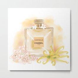 Gabrielle Coco Perfume Fragrance Fashion Drawing Wall Art Illustration Watercolor Metal Print