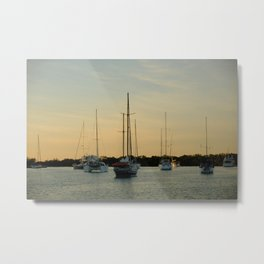 Little boats floating in the bay in Miami Florida Metal Print