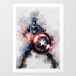 America Captain watercolor;-) Art Print