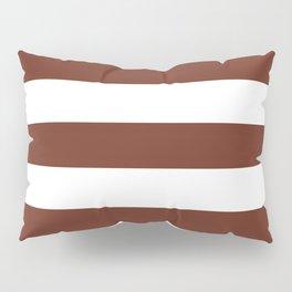 Liver (organ) - solid color - white stripes pattern Pillow Sham