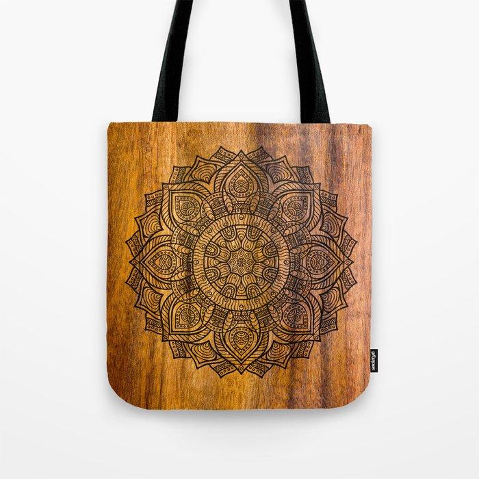 Mandala on wood Tote Bag