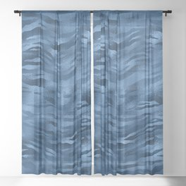 Amazing Blue and Gold Marble Design Pattern Sheer Curtain