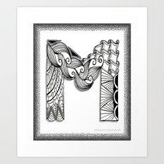 Zentangle M Monogram Alphabet Illustration Art Print