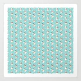 Modern teal white cute Christmas bear pattern Art Print