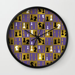Violet Chessboard and Chess Pieces pattern Wall Clock