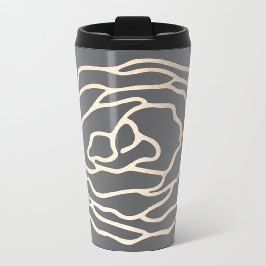 Rose White Gold Sands on Storm Gray Metal Travel Mug