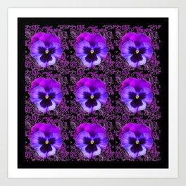 PURPLE PANSY FLOWERS ON BLACK COLOR Art Print