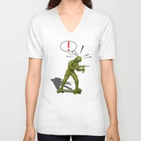 skateboard V-neck T-shirts featuring Soldier skateboard by Tony Vazquez