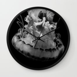 Jellyfish in Black & White Wall Clock