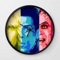 will ferrell Wall Clocks featuring Zoo Pop by victorygarlic - Niki