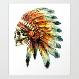 Skull Colorful Chief Art Print
