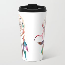 Native American Boho Vibrant Watercolor Beaded Dreamcatcher Travel Mug