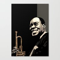 louis armstrong Canvas Prints featuring Louis Armstrong by f_e_l_i_x_x