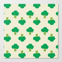 vegetable Canvas Prints featuring VEGETABLE-BROCCOLI! by Claudia Ramos Designs
