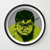 hulk Wall Clocks featuring Hulk by Hazel