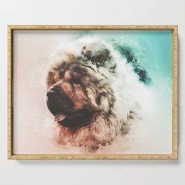 Chow Chow Digital Watercolor Painting Serving Tray